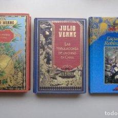 Libros de segunda mano: JULIO VERNE. CINCO SEMANAS EN GLOBO.LAS TRIBULACIONES DE UN CHINO EN CHINA.ESCUELA DE ROBINSONES.. Lote 295737953