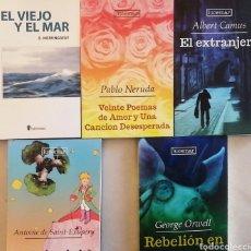 Libros: EL VIEJO Y EL MAR. EL EXTRANJERO. REBELIÓN EN LA GRANJA. EL PRINCIPITO. VEINTE POEMAS DE AMOR... Lote 268577229
