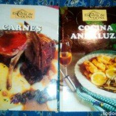 Libros: LIBROS DE RECETAS DE COCINA: LA ESCUELA DE COCINA. LIBRO DE CARNES Y LIBRO COCINA ANDALUZA. Lote 94277243