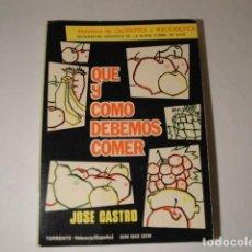 Libros: QUÉ Y CÓMO DEBEMOS COMER. AUTOR: JOSÉ CASTRO (NATURÓPATA).15ª EDICIÓN. AÑO 1962.. Lote 145916562