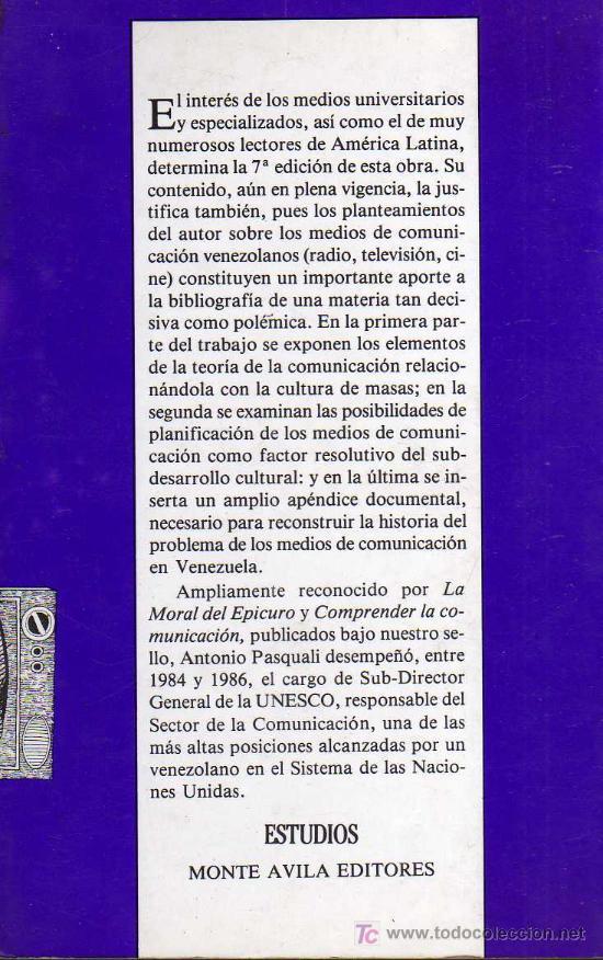Libros: COMUNICACIÓN Y CULTURA DE MASAS - ANTONIO PASQUALI - MONTE AVILA EDITORES 1990 - Foto 2 - 26990439