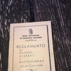 Libros: ZAMORA,REGLAMENTO MUNICIPAL DE PASTOS Y RASTROJALES. Lote 91876600