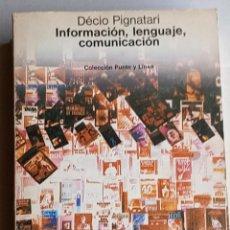 Libros: INFORMACIÓN, LENGUAJE Y COMUNICACIÓN.. Lote 276990853