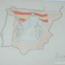 Libros: CUADERNO DE DIBUJOS AÑOS 40 EPOCA DE FRANCO DE NIÑA CON MAPAS ILUSTRADOS DE REGIONES ESPAÑOLAS, MIDE. Lote 191583195