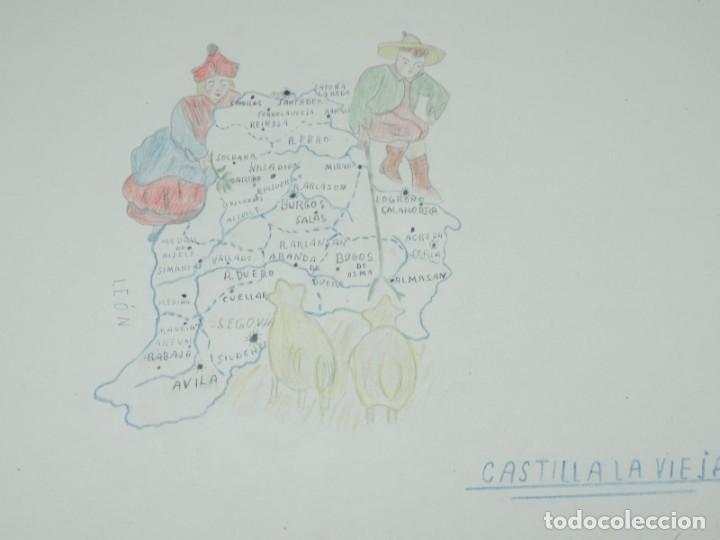Libros: CUADERNO DE DIBUJOS AÑOS 40 EPOCA DE FRANCO DE NIÑA CON MAPAS ILUSTRADOS DE REGIONES ESPAÑOLAS, MIDE - Foto 4 - 191583195