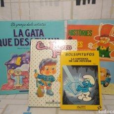 Libros: 4 CUENTOS PATITO FEO, BOLSO PITUFOS.. ETC.. Lote 234475225