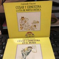 Libros: GABRIELLE VINCENT - DOS CUENTOS CESAR Y ERNESTINA - EN EL MUSEO Y LA TIA DE NORTEAMERICA. Lote 290490668