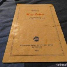 Libros: INSTRUCCIONES Y RECETAS PARA LA BATERIA MIA-SAFTER EN ALEMAN 1954. Lote 191618037