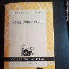 Libros: LIBRO NOTAS SOBRE PARIS COLECCIÓN AUSTRAL. Lote 210620060
