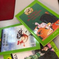 Libros: LOTE LIBROS EL DUENDE VERDE ANAYA PLANETA DE MILA GRAN AMOR DE UNA GALLINA HISTORIA DE UNA RECETA. Lote 282210388