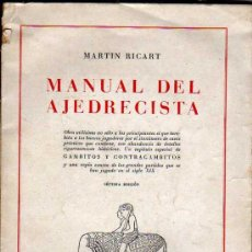 Coleccionismo deportivo: MAGNIFICO LIBRO DE MARTIN RICART - MANUAL DEL AJEDRECISTA - 1944. Lote 24367685