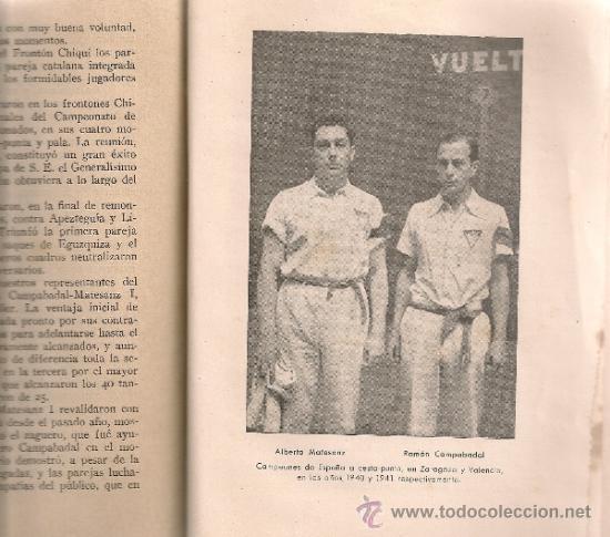 Coleccionismo deportivo: Club vasconia. Pelota vasca / E. Escudero. BCN, 1942. 19x13cm. 149 p. - Foto 3 - 34889527