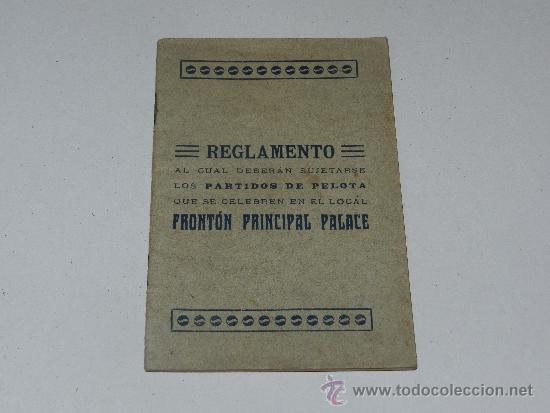 (M-3.7) PELOTA VASCA - REGLAMENTO PARTIDOS DE PELOTA FRONTON PRINCIPAL PALACE (Coleccionismo Deportivo - Libros de Deportes - Otros)