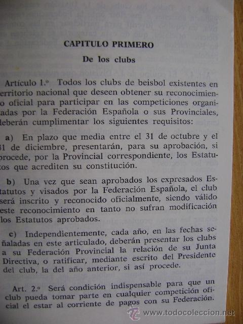 Coleccionismo deportivo: Federación Española de Béisbol FEBB: Reglamento oficial de partidos y competiciones 1967. +sanciones - Foto 3 - 39278896