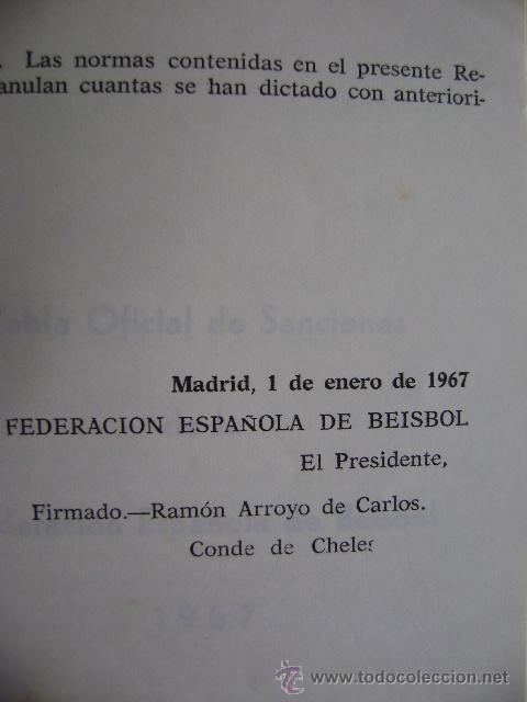 Coleccionismo deportivo: Federación Española de Béisbol FEBB: Reglamento oficial de partidos y competiciones 1967. +sanciones - Foto 4 - 39278896