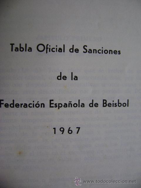 Coleccionismo deportivo: Federación Española de Béisbol FEBB: Reglamento oficial de partidos y competiciones 1967. +sanciones - Foto 5 - 39278896