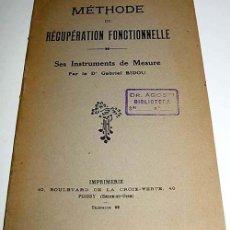 Coleccionismo deportivo: METHODE DE RECUPERATION FONCTIONNELLE – GABRIEL BIDON – BOULEVARD DE LA CROIX – VERDE - POISSY, 1922. Lote 38243487