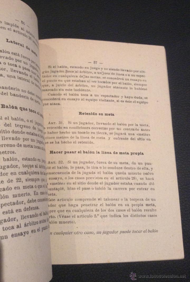 Coleccionismo deportivo: libro manual reglamento de rugby de 1949 - Foto 3 - 45523233