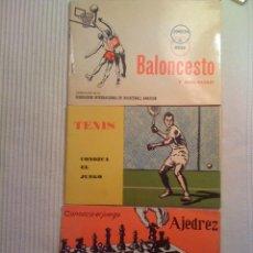 Coleccionismo deportivo: 3 X COLECCIÓN CONOZCA EL JUEGO – TENIS, AJEDREZ, BALONCESTO Y MINI-BASKET - EDITORIAL SCIENTIA 1965. Lote 45856563