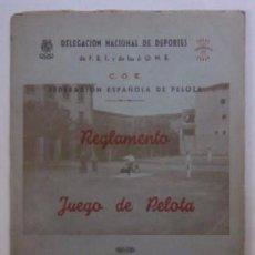 Coleccionismo deportivo: REGLAMENTO DEL JUEGO DE PELOTA - AÑO 1944. Lote 48641166