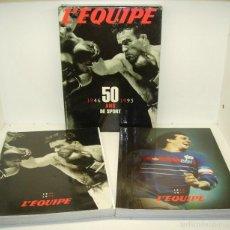 Coleccionismo deportivo: L'EQUIPE 1946-1995, 50 ANYS DE SPORT, 2 LIBROS GRAN FORMATO CON CAJA. Lote 55367235
