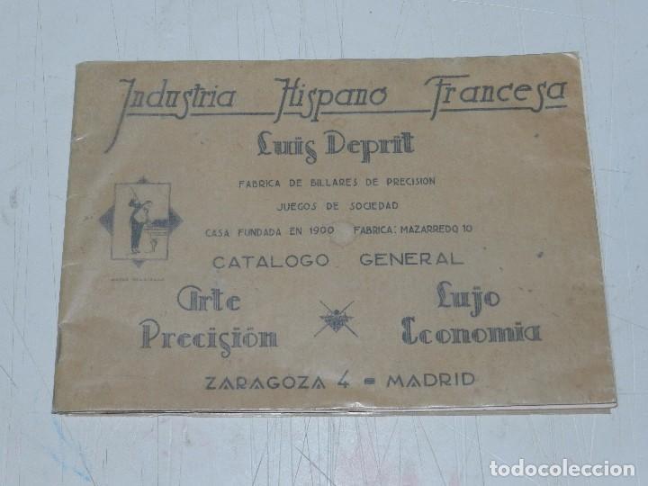 (M) CATALOGO INDUSTRIA HISPANO FRANCESA LUIS DEPRIT,( BILLAR ) FABRICA DE BILLARES, ZARAGOZA, MADRID (Coleccionismo Deportivo - Libros de Deportes - Otros)