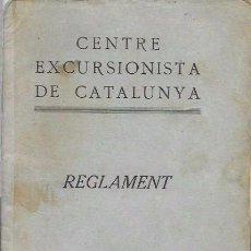 Coleccionismo deportivo: CENTRE EXCURSIONISTA DE CATALUNYA - REGLAMENT - BARCELONA. 1929. Lote 83772523