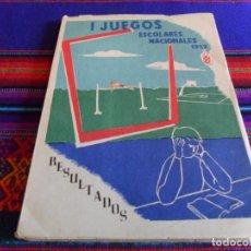 Coleccionismo deportivo: I JUEGOS ESCOLARES NACIONALES 1952. 121 PGNS. TODOS LOS DEPORTES Y RESULTADOS DE TODA ESPAÑA. RARO.. Lote 72127523