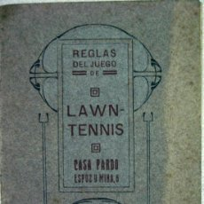 Coleccionismo deportivo: LIBRO REGLAMENTO DEL TENIS PRINCIPIOS DEL SIGLO XX. MODERNISTA CASA PARDO MADRID. Lote 73136511