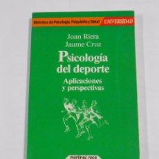 Coleccionismo deportivo: PSICOLOGIA DEL DEPORTE, APLICACIONES Y PERSPECTIVAS. JOAN RIERA Y JAUME CRUZ. TDK144. Lote 77875065