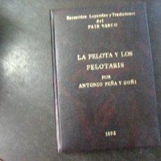 Coleccionismo deportivo: LA PELOTA Y LOS PELOTARIS,ANTONIO PEÑA Y GOÑI,FACSIMIL 1892,REF LEYENDAS Y TRADICIONES BS3. Lote 107851691