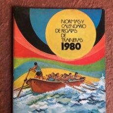 Coleccionismo deportivo: NORMAS Y CALENDARIO DE REGATAS DE TRAINERAS 1980. CAJA DE AHORROS VIZCAÍNA. 38 PÁGINAS. ILUSTRADO.. Lote 130522144