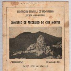 Coleccionismo deportivo: CONCURSO DE RECORRIDO DE CIEN MONTES. BASES REGLAMENTARIAS Y CATALOGO DE MONTES CONCURSABLES. Lote 133821887
