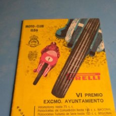 Coleccionismo deportivo: MOTO- CLUB ELDA VI PREMIO EXCMO AYUNTAMIENTO AÑO 1961. Lote 134982354