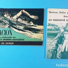 Coleccionismo deportivo: LOTE 2 LIBROS DE NATACION: CONOZCA EL JUEGO Y TECNICAS ESTILOS Y ENTRENAMIENTO NADADOR DEPORTIVO. Lote 174145858