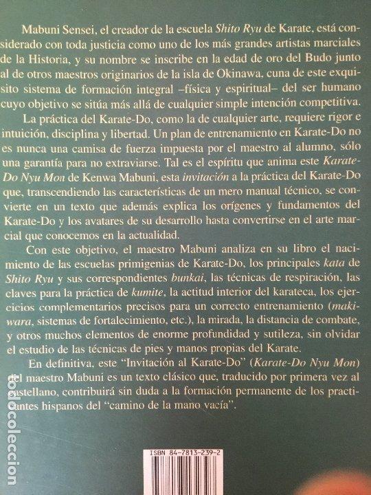 Coleccionismo deportivo: INVITACION AL KARATE-DO - K. MABUNI / G. NAKASONE - MIRAGUANO EDICIONES - ILUSTRADO - BUEN ESTADO - Foto 2 - 177771804
