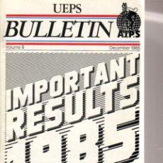Coleccionismo deportivo: UEPS BULLETIN IMPORTANT RESULTS 1985. Lote 182182937