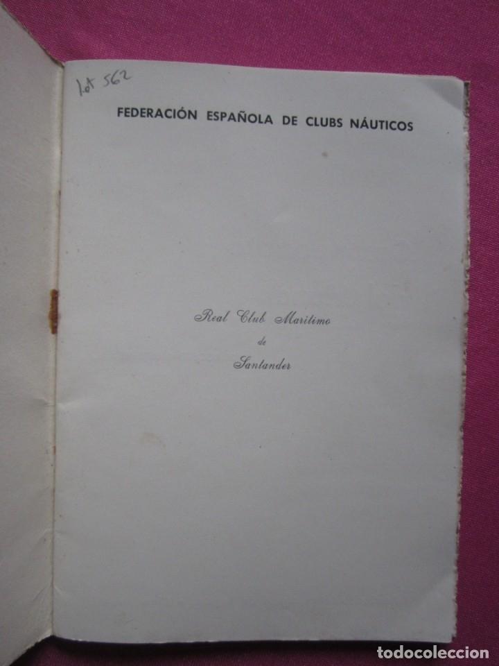 Coleccionismo deportivo: CAMPEONATO DEL MUNDO DE REGATAS REAL CLUB MARITIMO DE SANTANDER 1955 - Foto 4 - 183037330