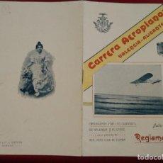 Coleccionismo deportivo: CARRERA AEROPLANOS VALENCIA ALICANTE. JULIO 1911. REGLAMENTO. 10 HOJAS. 19 X 12 CM. Lote 189353873