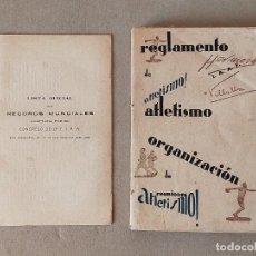 Coleccionismo deportivo: REGLAMENTO DE ATLETISMO (1931) Y LISTA OFICIAL DE RECORDS MUNDIALES DE ATLETISMO (1930). Lote 225828870