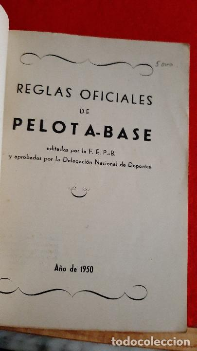 Coleccionismo deportivo: LIBRO FOLLETO FEDERACION ESPAÑOLA DE PELOTA BASE BEISBOL 1950 BASE BALL REGLAMENTO ORIGINAL - Foto 2 - 236203925