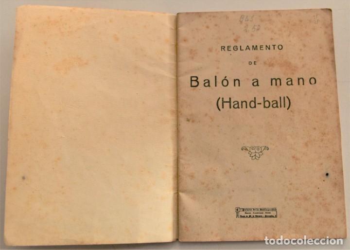 Coleccionismo deportivo: BALÓN A MANO (HAND-BALL) REGLAS DE JUEGO, EDICIONES DEPORTIVAS EFS - CUÑO FRENTE JUVENTUDES VALENCIA - Foto 3 - 237801755