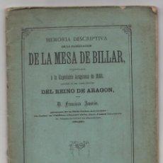 Coleccionismo deportivo: MEMORIA DESCRIPTIVA DE LA FABRICACION DE LA MESA DE BILLAR. FRANCISCO AMOROS. ARAGON 1868. Lote 239400690