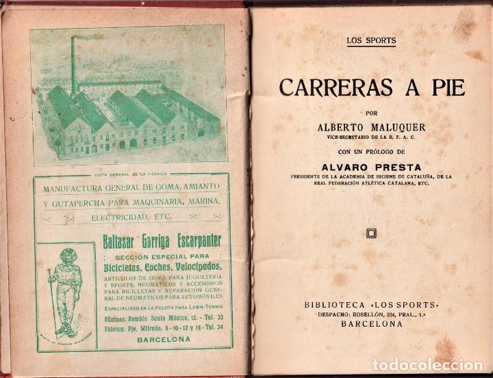 Coleccionismo deportivo: CARRERAS A PIE - BIBLIOTECA LES SPORTS BARCELONA - TAPA DURA - PRINCIPIOS S. XX - Foto 3 - 240171580