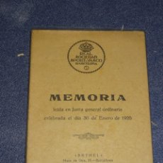 Coleccionismo deportivo: (M-3.7) LIBRO PELOTA VASCA - MEMORIA 1925 , REAL SOCIEDAD SPORT-VASCO BARCELONA BARCELONA 1925. Lote 268406549