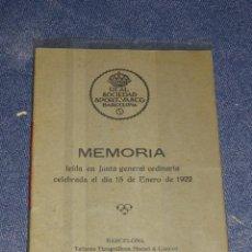 Coleccionismo deportivo: (M-3.7) LIBRO PELOTA VASCA - MEMORIA 1922 , REAL SOCIEDAD SPORT-VASCO BARCELONA 14 PAG, BARCELONA. Lote 268406639