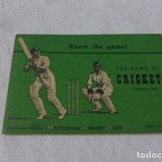 Coleccionismo deportivo: THE LAWS OF CRIKET- LAS REGLAS DEL CRIKET...EN INGLES...1954.. Lote 287243773