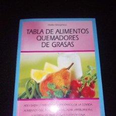 Libros: TABLA DE ALIMENTOS QUEMADORES DE GRASAS. Lote 95837775