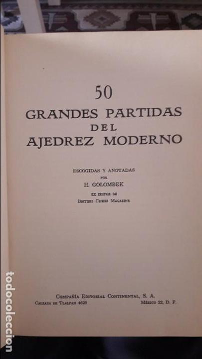 50 GRANDES PARTIDAS DE AJEDREZ MODERNO. H. GOLOMNEK. MEXICO, 1959 (Libros Nuevos - Ocio - Deportes y Juegos)