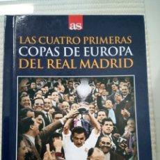 Libros: LIBRO + DVD DEL PERIÓDICO AS DE LAS CUATRO PRIMERAS COPAS DE EUROPA DEL REAL MADRID. Lote 172464403